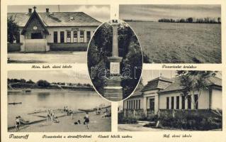 Tiszaroff, Római katolikus templom, Tisza árvízkor, strand, elesett hősök szobra, Református elemi iskola, Lénárt D. kiadása