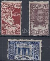 1922 Giuseppe Mazzini halálának 50. évfordulója sor Mi 157-159