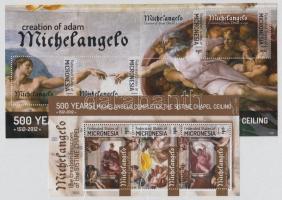 2012 Michelangelo, Sixtus-kápolna festmények kisív + blokk
