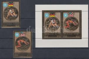1973 Olimpiai aranyérmesek aranyfóliás sor Mi 368 A-369 A + blokk Mi 31 A