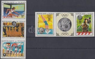 1970 Nyári olimpiák vágott sor hármascsíkokban / Mi 325B-329B imperforate stripes of 3