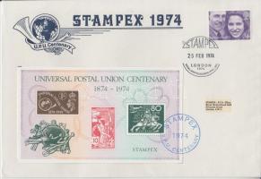 1974 Stampex alkalmi boríték 100 éves az UPU emlékívvel
