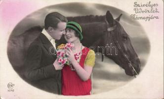 Name day greeting card , horse, couple, Névnapi üdvözlő lap, ló, pár