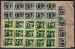 1945 (3. díjszabás) Távolsági céges ajánlott levél Kisegítő 15x 40f/10f + 15x 1,6P/12f bérmentesítéssel / Registered domestic cover franked with 30 stamps