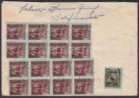 1945 (3. díjszabás) Távolsági levél tartalommal Kisegítő 16x 10f/14f + 8P/20f bérmentesítéssel