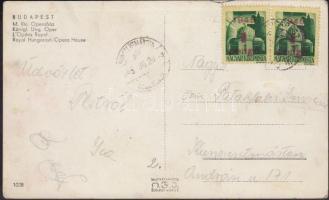 1945 (2. díjszabás) Távolsági képeslap (Opera) 2x Kisegítő 1P/1P bérmentesítéssel