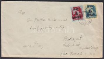 1945 (3. díjszabás) Távolsági levél Kisegítő 4P/30f + 6P/50f bérmentesítéssel