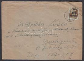 1945 (3. díjszabás) Távolsági levél Kisegítő 10P/80f bérmentesítéssel