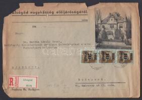 1945 (3. díjszabás) Távolsági ajánlott levél nyomott borítékon Kisegítő 3x 10P/80f bérmentesítéssel (kissé megviselt szélek)