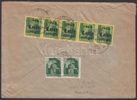 1945 (3. díjszabás) Távolsági levél 2x Hadvezérek 1P + 5x Kisegítő 1,60P/12f bérmentesítéssel