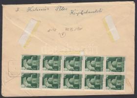 1945 (3. díjszabás) Távolsági ajánlott levél Hadvezérek 1P tízestömb bérmentesítéssel, postaügynökségi bélyegzéssel