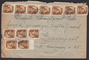 1945 (3. díjszabás) Távolsági levél 250gr-ig 19 x Hadvezérek 80f bérmentesítéssel / Domestic cover 2nd weight class franked with 19 stamps