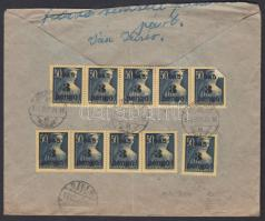 1945 (3. díjszabás) Távolsági ajánlott levél Kisegítő 10x 3P/50f bérmentesítéssel