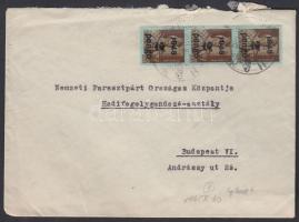1945 (3. díjszabás) Helyi céges levél 3x Kisegítő 2P/4f bérmentesítéssel