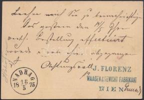 1875 Díjjegyes levelezőlap Bécsből NADRAG 1875 érkezési bélyegzéssel