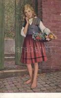 Girl with flowers, s: Klimes, Lány virágokkal, s: Klimes