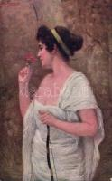 Romaine s: J. Zenisek, Nő virággal, s: J. Zenisek