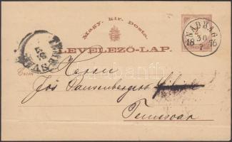 1876 Díjjegyes levelezőlap / PS-card NADRAG - TEMESVAR