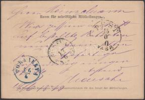 1870 Díjjegyes levelezőlap kék TORNALLYA átmenő bélyegzővel / PS-card with blue transit postmark TEMESVÁR - PEST VASP - TORNALLYA - JOLSVA