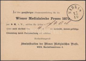 1873 Díjjegyes levelezőlap Bécsből NADRAG érkezési bélyegzéssel / PS-card from Vienna with NADRAG arrival postmark