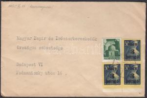 1945 (3. díjszabás) Távolsági levél Kisegítő 3x 3P/50f + Hadvezérek 1P bérmentesítéssel