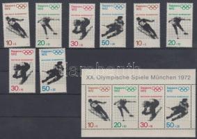 1972 Nyári olimpia, München sor Mi 680-683 + blokkból kitépett bélyegek 684-687 + blokk 6
