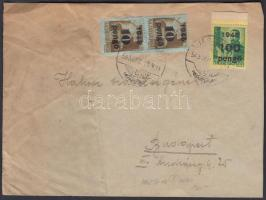 1945 (5. díjszabás) Távolsági levél Kisegítő 2x 10P/80f + 100P/12f bérmentesítéssel