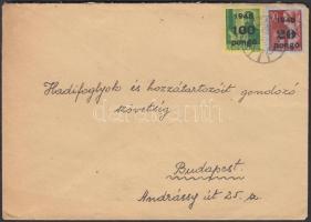 1945 (5. díjszabás) Helyi levél Kisegítő 20P/30f + 100P/12f bérmentesítéssel tévesen a távolsági levél díjszabása szerint