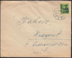 1945 (5. díjszabás) Távolsági levél Kisegítő 20x 1P/70f + 100P/12f bérmentesítéssel