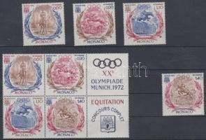 1972 Nyári olimpia, München sor Mi 1045-1048 + sor szelvényes hatostömbben 1045-1048 (jobb oldalon)