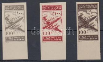 1953 Repülő Mi 499 fogazatlan próbanyomatok 3 különböző színben, az egyik a papír gumis oldalára nyomva / Airmail Mi 499, 3 imperforate colour proofs, 1 printed on the gum