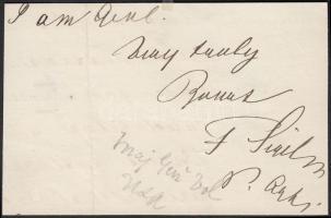 d.n. Franz Sigel 1824-1902): 1848-as német szabadságharcos, később amerikai tábornok és politikus saját kézzel írt névaláírása levél kivágáson / wo. date Autograph signature of 1848 freedom fighter, Union major general, politican Franz Sigel on letter cut-out