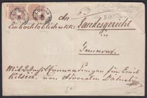 1858 2x5kr II. + 2x10kr II. ajánlott levélen / on registered cover LUGOS - TEMESVAR. Signed: Ferchenbauer, Kessler