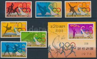1976 Montreali nyári olimpia vágott sor Mi 1508-1513 + vágott blokk Mi 26