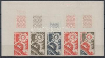 1964 Nyugodt Nap éve Mi 71 5 klf színpróba ívsarki ötöscsíkban / stripe of 5 different imperforate coulor proofs