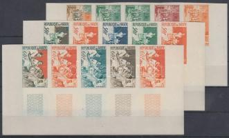 1964 Egészségügyi Világszervezet (OMNES) Mi 73-75 15 klf fogazatlan színpróba 3 db ívsarki ötöscsíkban / 3 stripes of 5 different imperforate coulor proofs