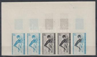 1963 Sport verseny, Dakar Mi 31 5 db fogazatlan színpróba ívsarki ötöscsíkban / stripe of 5 different imperforate coulor proofs