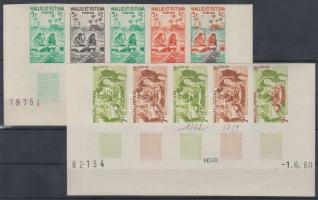 1957 Néprajz Mi 183-184 10 klf fogazatlan színpróba 2 db ívsarki ötöscsíkban / 2 stripes of 5 different imperforate coulor proofs
