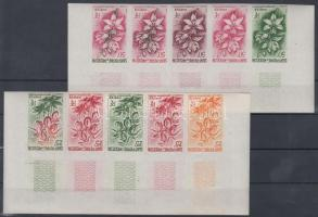 1962 Virág Mi 394-395 10 klf fogazatlan színpróba 2 db ívsarki ötöscsíkban / 2 stripes of 5 different imperforate coulor proofs