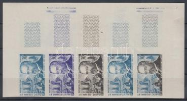 1963 Albert Calmette Mi 402 5 klf fogazatlan színpróba ívsarki ötöscsíkban / stripe of 5 different imperforate coulor proofs