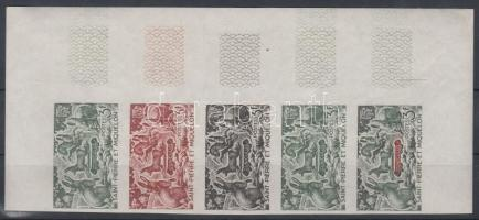 1964 Állatok Mi 408 5 klf fogazatlan színpróba ívsarki ötöscsíkban / stripe of 5 different imperforate coulor proofs