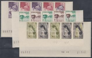 1960 100 éves az új kaledóniai bélyeg Mi 371-373 15 klf fogazatlan színpróba 3 klf ötöscsíkban / 3 stripes of 5 different imperforate coulor proofs