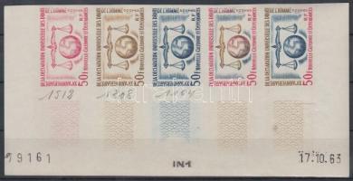 1963 15 éves az Emberi Jogok Nyilatkozata Mi 393 5 klf fogazatlan színpróba ötöscsíkban / stripe of 5 different imperforate coulor proofs