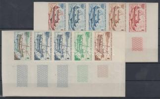 1964 Vitorláshajók Mi 358-359 10 klf fogazatlan színpróba 2 klf ötöscsíkban / 2 stripes of 5 different imperforate coulor proofs