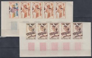 1959 Köztársaság 1. évfordulója Mi 1-2 10 db fogazatlan színpróba 2 klf ötöscsíkban / 2 stripes of 5 different imperforate coulor proofs