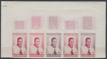 1960 Fulbert Youlou elnök Mi 4 5 db fogazatlan színpróba ötöscsíkban / stripe of 5 different imperforate coulor proofs