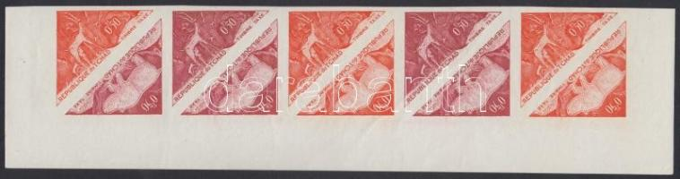 1962 Portó bélyeg Mi 23-24 10 db fogazatlan színpróba tizescsíkban /Postage due, stripe of 10 different imperforate coulor proofs