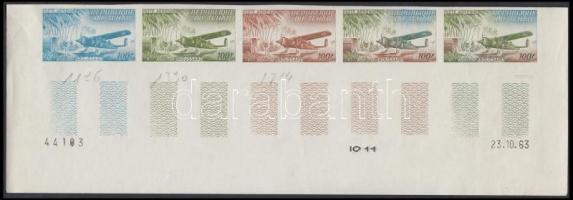 1963 Légi posta Mi 107 5 klf fogazatlan színpróba ötöscsíkban / stripe of 5 different imperforate coulor proofs