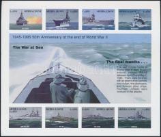 1995 50 éve ért véget a II. világháború Európában vágott kisív Mi 2347-2354 + vágott blokk 269 / imperforate minisheet and block