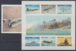 1995 50 éve ért véget a II. világháború a Csendes óceánon vágott kisív Mi 2356-2361 + vágott blokk 270 / imperforate minisheet and block